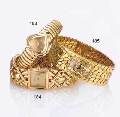 BULGARI. A LADY'S 18K GOLD SQU