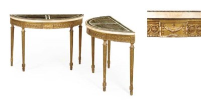 A PAIR OF GILTWOOD DEMI-LUNE P