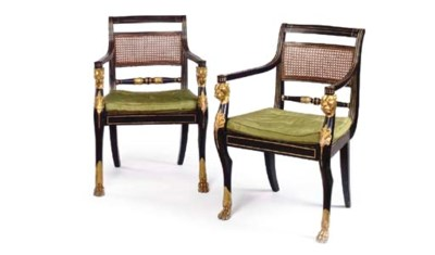 A MATCHED PAIR OF EBONISED AND
