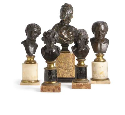 A GROUP OF FIVE BRONZE BUSTS O