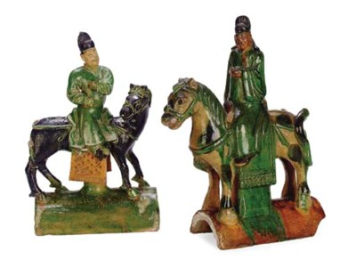 TWO CHINESE GREEN AND OCHRE-SP