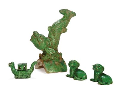 A PAIR OF CHINESE GREEN-GLAZED