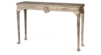 A SILVERED NARROW CENTER TABLE