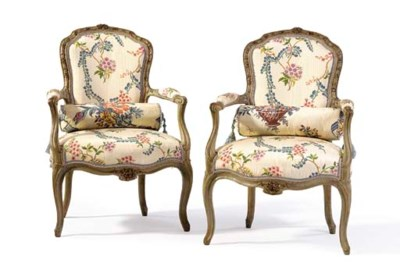 A PAIR OF LOUIS XV GREY AND RE