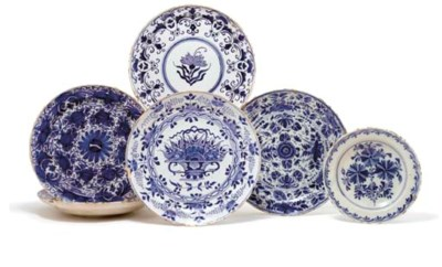 SIX DUTCH DELFT BLUE AND WHITE