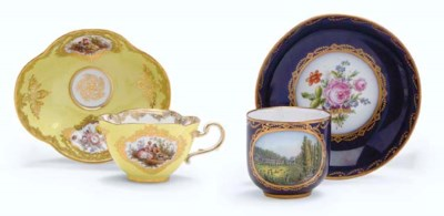 TWO MEISSEN CUPS AND SAUCERS