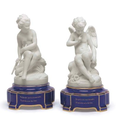A PAIR OF SEVRES BISCUIT FIGUR