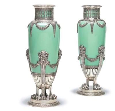 A pair of German opaline glass