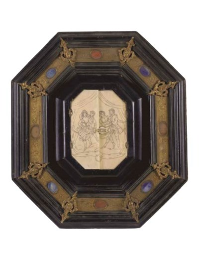 A French framed carved and etc