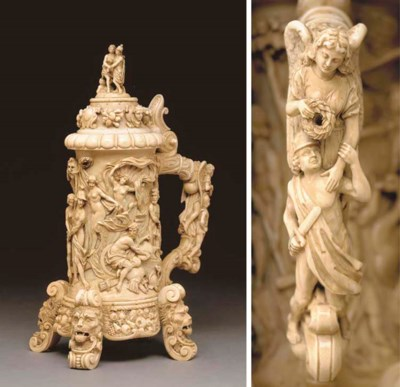 A German carved ivory lidded t