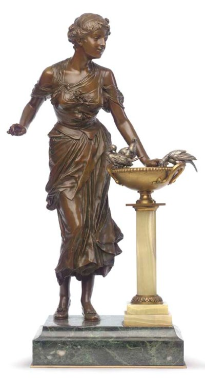 A French bronze, onyx and marb