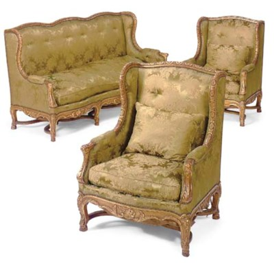 A Regence style giltwood three