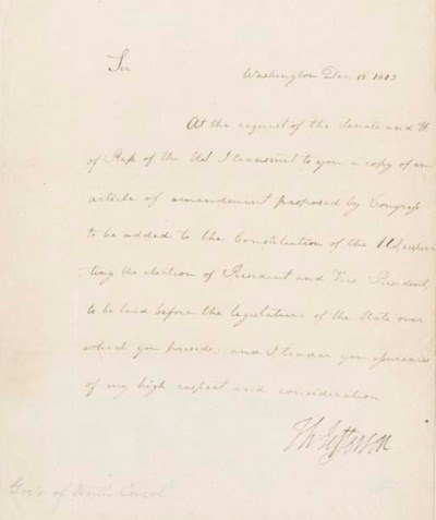 JEFFERSON, Thomas. Letter sign