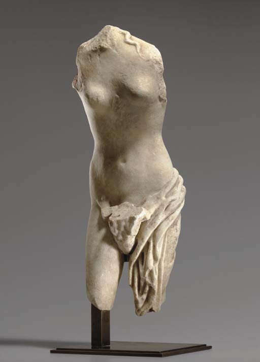A ROMAN FRAGMENTARY MARBLE GROUP OF LEDA AND THE SWAN