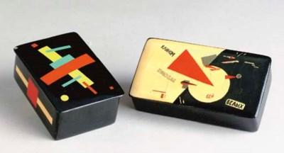 TWO RUSSIAN BLACK LACQUER BOXE