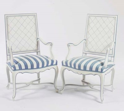 A PAIR OF CREAM AND BLUE PAINT
