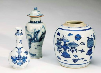 A GROUP OF CHINESE BLUE ANE WH