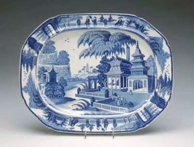FOUR STAFFORDSHIRE BLUE AND WH