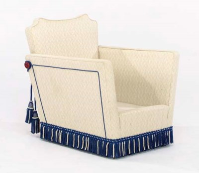 AN OATMEAL TWILL UPHOLSTERED C