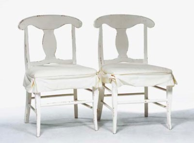 A SET OF TWELVE WHITE-PAINTED