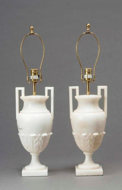 A PAIR OF ALABASTER URN FORM T
