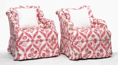 A PAIR OF PINK UPHOLSTERED CLU