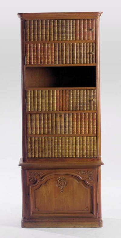 A FRENCH WALNUT AND FAUX BOOK