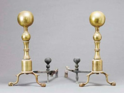 A PAIR OF BRASS BALL-FORM ANDI