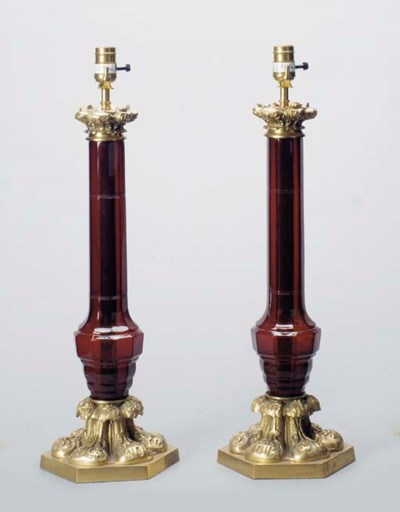 A PAIR OF RUBY GLASS AND GILT-