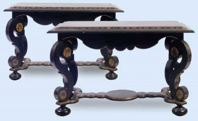 A PAIR OF BAROQUE STYLE EBONIZ