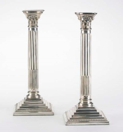 SIX SILVER-PLATED COLUMN-FORM