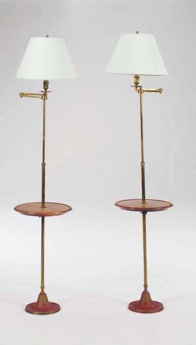 A PAIR OF BRASS AND WOOD ADJUS