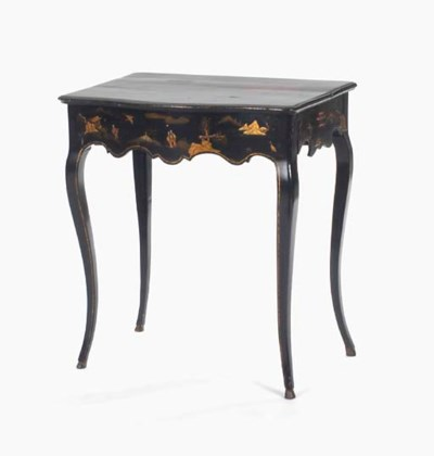 A LOUIS XV BLACK JAPANNED AND