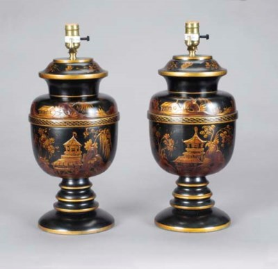A PAIR OF JAPANNED TABLE LAMPS