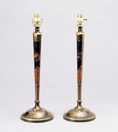 A PAIR OF JAPANNED CANDLESTICK