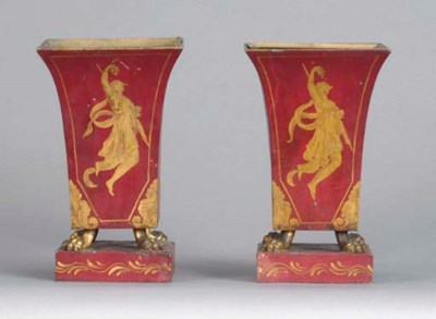 A PAIR OF FRENCH GILT-DECORATE