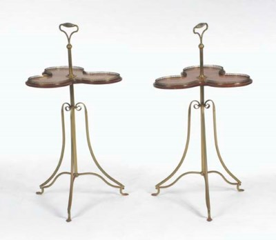 A PAIR OF BRASS AND WALNUT CLO