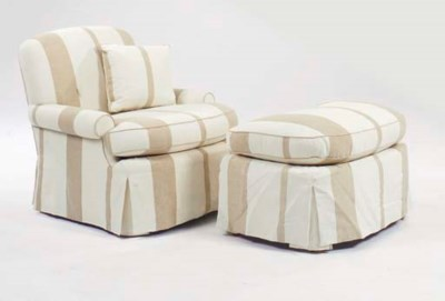 A PAIR OF STRIPED UPHOLSTERED