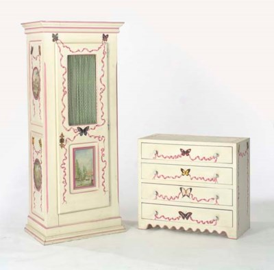 A POLYCHROME PAINTED AND PINK