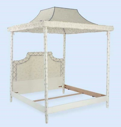 A FOUR-POSTER BED WITH CANOPY