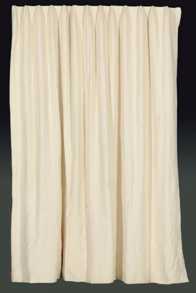 TWO CREAM COTTON CURTAINS TOGE