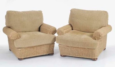 A PAIR OF WOVEN WICKER 'ROPE'