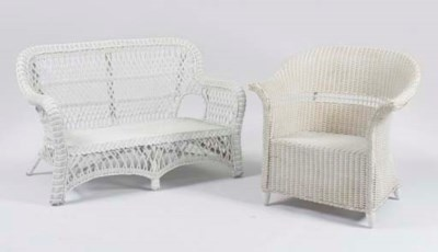 A WHITE PAINTED WICKER SALON S