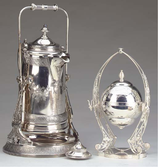 AN AMERICAN SILVER-PLATED COLD WATER JUG-ON-STAND, GOBLET AND BOX WITH HINGED COVER,
