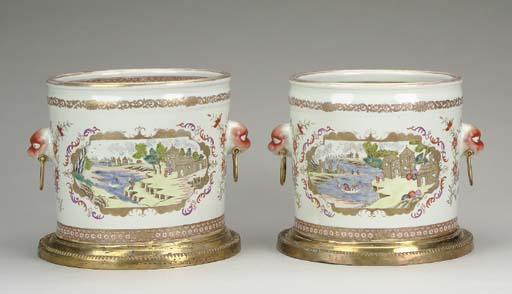 A PAIR OF GILT BRONZE-MOUNTED CHINESE EXPORT STYLE CYLINDRICAL JARDINIERES,