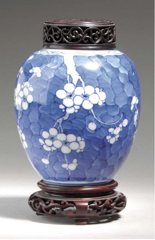 A BLUE AND WHITE OVOID GINGER JAR AND COVER AND A BLUE AND WHITE JAR,