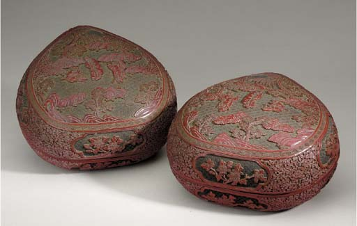 A PAIR OF CHINESE CINNABAR LACQUER BOXES AND COVERS,
