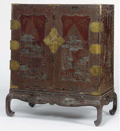 AN INLAID-LACQUER CHEST ON STAND,