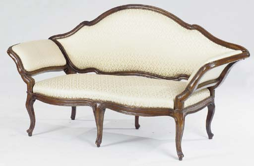 AN ITALIAN STAINED BEECHWOOD CANAPE,