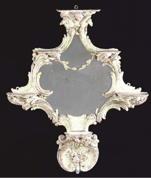 A CONTINENTAL ROCOCO STYLE PAINTED AND PARCEL GILT MIRROR,